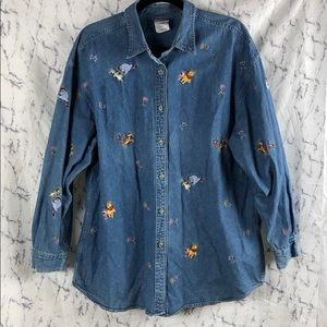 The Disney Store Denim Pooh Bear Embroidered Top